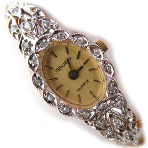 VINTAGE-GRUEN-GENUINE-DIAMONDS-Wristwatch-Ladies-WATCH-1-40-10K-RGP-Gold-Band