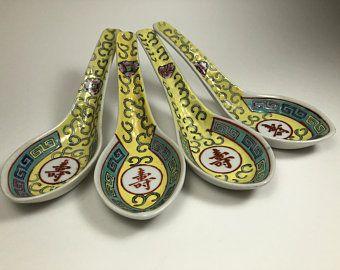 Vintage Japanese Porcelain Spoons Set Decorated In Hong Kong Porcelain Spoons Soup Spoons Chinese C Unique Items Products Ceramic Spoons Japanese Porcelain
