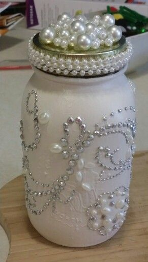 Candle I made for my bedroom using an old mason jar!