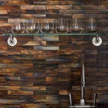 Simple Copper Glass Tile Backsplash Iridescent Copper Backsplash