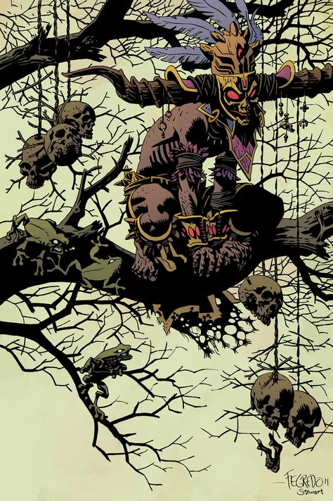 Concept art of a male witch doctor for Diablo III by Duncan Fegredo Witch Doctor, Mike Mignola, Art And Illustration, Comic Kunst, Comic Art, Fantasy Kunst, Fantasy Art, Male Witch, Twilight Princess