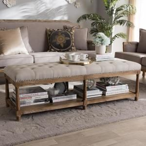 Baxton Studio Celeste Beige Fabric Upholstered Bench 28862 7607 Hd Upholstered Ottoman Upholstered Storage Bench Country Living Room