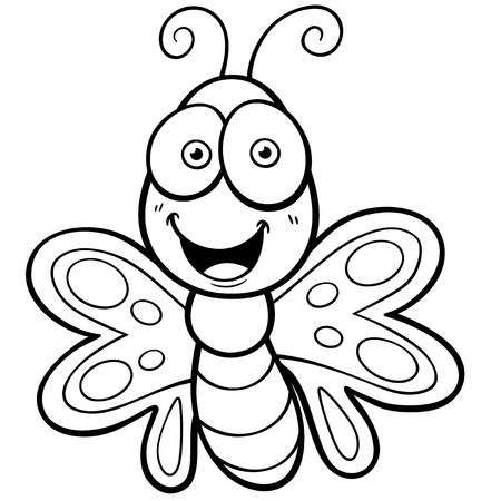 Vector Illustration Of Butterfly Cartoon Coloring Book Butterfly Coloring Page Coloring Books Cartoon Coloring Pages