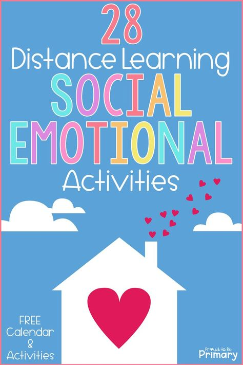 Social-emotional activities can support distance learning at home. Grab your free copy of the SEL distance learning pack and editable calendar and children's book list! Social Emotional Activities, Social Emotional Development, Teaching Social Skills, Counseling Activities, Learning Activities, Learning Spaces, Emotions Activities, Career Counseling, Emotional Support Classroom