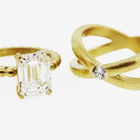 da857b0fe34 This style is all the rage! Our brides are coming up with more creative  ways than ever to create their custom wedding bands and more and more brides  are ...