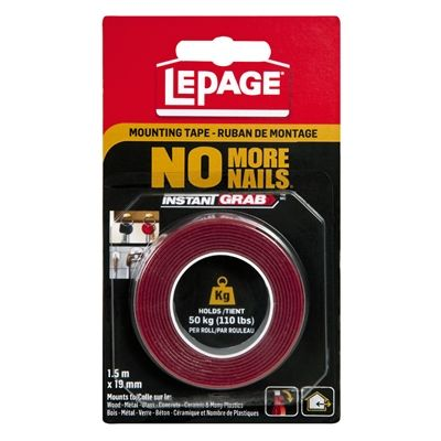 Lepage No More Nails 1 5m X 19mm Instant Grab Mounting Tape In 2020 Hanging Pictures Concrete Wall Hanging Pictures On The Wall