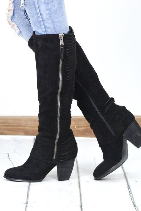 14f314d51 Super soft suede outer with a slashed strippy look on the back of the boot.  These features a decorative zipper on the outside and fully functional  zipper on ...