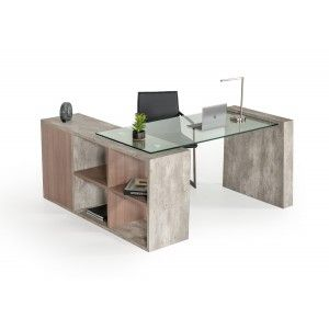 Nova Domus Boston Modern Glass Concrete Desk L Shaped Desk
