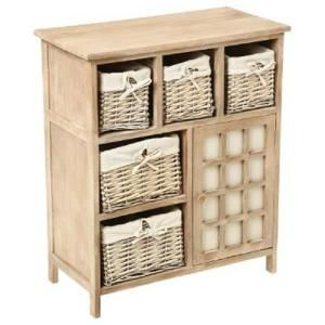 Meuble En Bois Beige Avec 5 Paniers En Osier 1 Porte Home Decor Bookcase Furniture