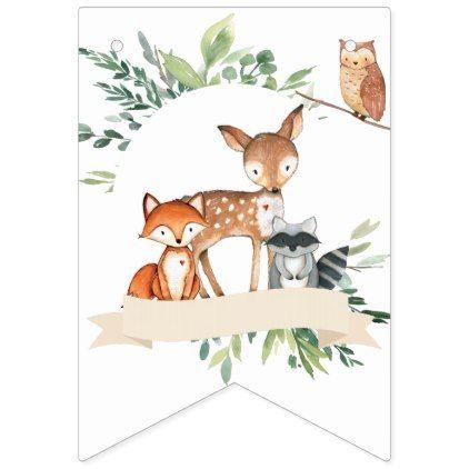 Woodland Animals Baby Shower Banner | Bunting Flag