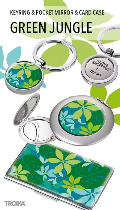 Troika Green Jungle Keyring With Shopping Trolley And Card