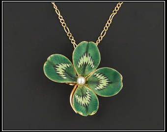 Vintage 14k Gold Clover Pendant Or Brooch 14k Gold Enamel Clover With Optional 14k Gold Chain Four Leaf Cl Four Leaf Clover Necklace Unusual Jewelry Clover