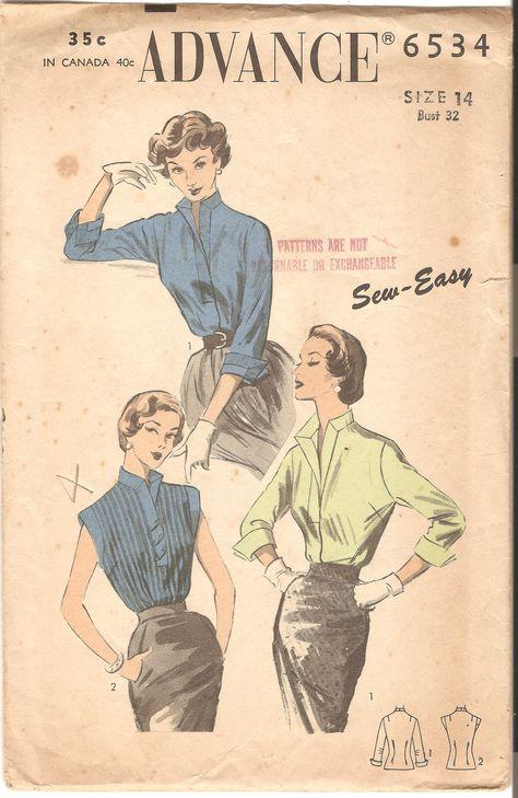 Advance 6534 © 1953 Vintage Blouse Pattern