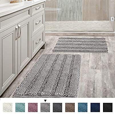 Amazon Com Non Slip Thick Shaggy Chenille Bathroom Rugs Soft Bath Mats For Bathroom Extra Absorbent Floor Mats Bathroom Rugs Chenille Bathroom Rugs Bath Rugs