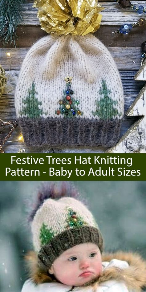 Knitting Pattern for Festive Trees Christmas Hat Baby to Adult Sizes