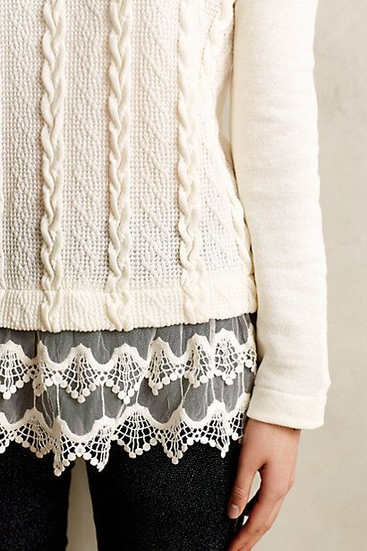 Lace-Dipped Pullover