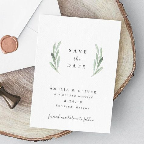 Greenery Save the Date Template Boho Wedding Printable Rustic Wreath Save the Date Card Simple Save the Date EDIT in  TEMPLETT  Amelia#amelia #boho #card #date #edit #greenery #printable #rustic #save #simple #template #templett #wedding #wreath