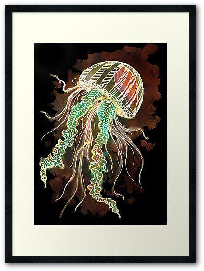 Midnight Jellyfish Framed Art Print Zeichenbloq Framed Art Prints Framed Prints Custom Posters