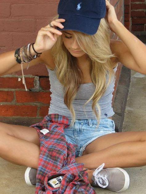 baseball hat, jean shorts, tank, plaid, keds