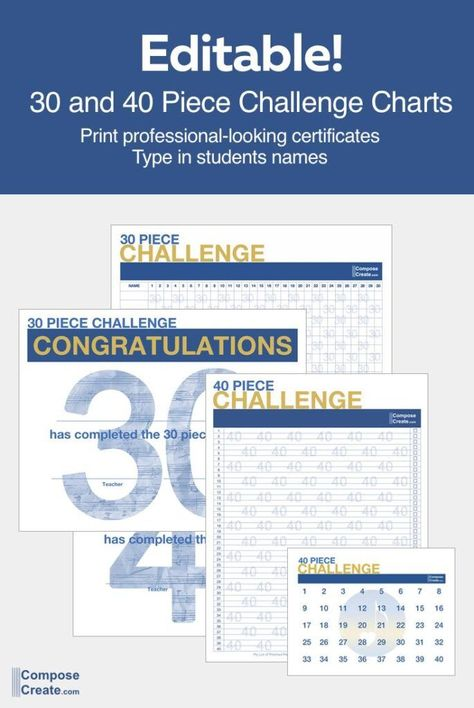 New and improved 30 and 40 Piece Challenge Charts to help facilitate the inspiring challenge that @ElissaMilne started! #piano #teacher #teaching #repertoire #challenge #30piece #40piece