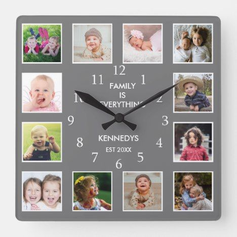 Create Your Own 12 Photo Collage Frame Gray Square Wall Clock Zazzle Com In 2020 Framed Photo Collage 12 Photo Collage Photo Collage
