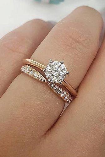 Three Stone Moissanite Engagement Ring Set 14k White Gold