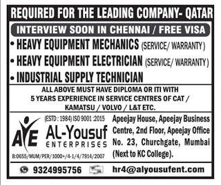 For Qatar Electrician Services Job Posting Sites Qatar