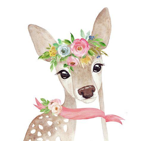 Deer Digital Art - Boho Woodland Deer With Ribbon by Pink Forest Cafe
