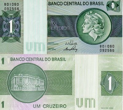 Scwpm P191aa Tbb B812a 1 Cruzeiro Brazilian Banknote Uncirculated
