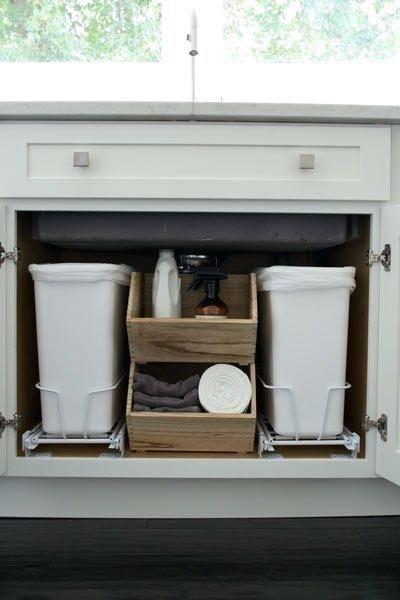 Under Sink Trash Cans Or Dog Food Bin Best Kitchen Sinks Under