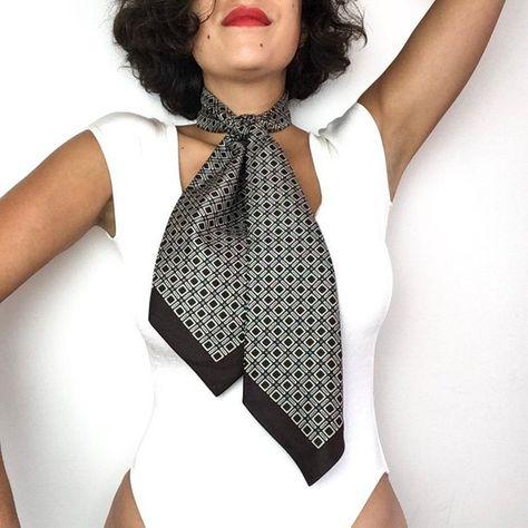 1a9e99fe49be Vintage Ascot tie or Ascot collar, women's neck tie, silk scarf, dark brown