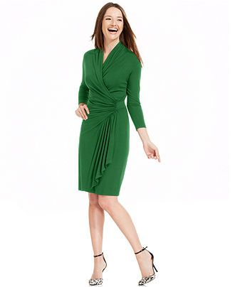 Karen Kane Three-Quarter-Sleeve Faux-Wrap Dress - Dresses - Women - Macy's
