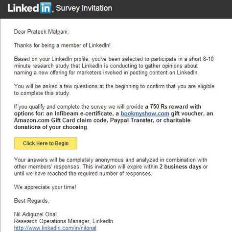 The Perfect Survey Invitation Email From Linkedin Prateek