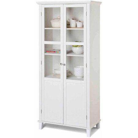Homestar 2 Door Pantry Cabinet With Glass Doors Walmart Com Storage Cabinet Shelves Decorative Storage Cabinets Glass Cabinet Doors