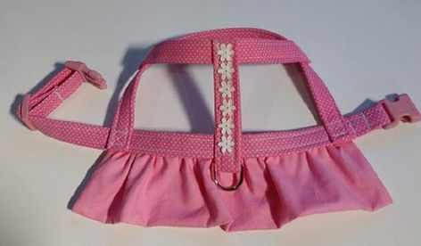 Custom Dog Harness - Small Pink Dots with Venice Lace Trim  The Dog will look gorgeous in this Pink Dot Dress Trimmed in Venice Lace.  This Easy On Harness is easy to put on and is designed to prevent any kind of damage to your dogs sensitive neck. When you are walking with this