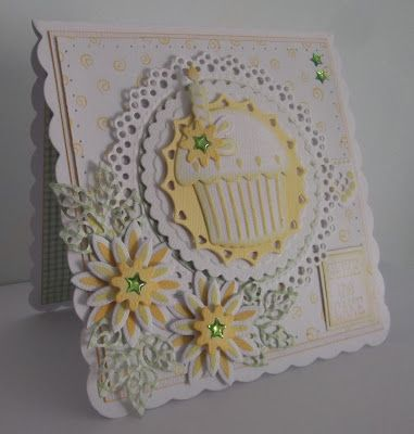 ink'n'rubba Marianne Design die cuts for this card LR0160 cupcake, LR0161 lace, LR0180 yellow mat, LR0106 daisy flowers, LR0156 leaves, CR1201 white lace mat