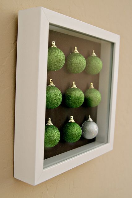 DIY Christmas Ornament Art by See Vanessa Craft, via Flickr...awesome idea, could also display childrens handmade ornaments... :)