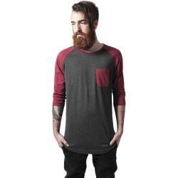 Urban Classics Herren T-Shirt basic Normal Long Raglan 3/4 Sleeve Pocket Teetb1231 darkgrey Long Bac