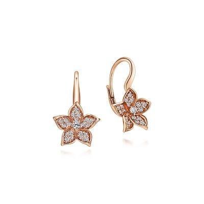 14k Rose Gold Floral Pave Diamond Drop Earrings Eg12598k45jj Rose Gold Drop Earrings Rose Gold Diamond Earring Ear Jewelry