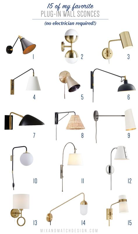 All About Plug-In Wall Sconces (And A Roundup of My Favorites) — Mix & Match Design Company Plug In Wall Sconce, Black Wall Sconce, Indoor Wall Sconces, Bronze Wall Sconce, Wall Sconce Lighting, Wall Mounted Lights Bedroom, Bedside Lighting, Plug In Wall Lights, Light Design