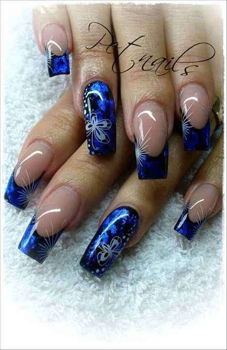 Stunning - such depths of blue, such beautifully placed butterflies on the ring finger nails love!