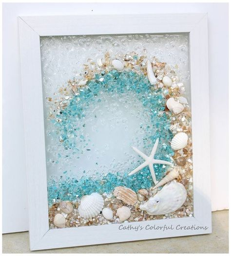 #beachdecor | Sea glass crafts, Sea glass art, Crushed glass #sea #glass #window This Pin was discovered by Shandra Ward Signature Design Studio. Discover (and save!) your own Pins on Pinterest. Sea Glass Crafts, Sea Glass Art, Resin Crafts, Resin Art, Stained Glass, Art Crafts, Sea Glass Decor, Sea Glass Mosaic, Glass Beach