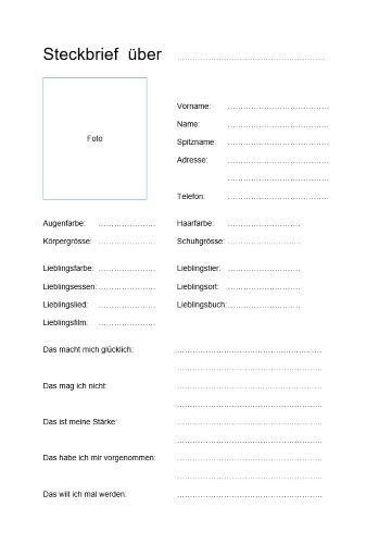 Kostenlose Steckbrief Vorlage Im Word Format Zum Download Die Vorlage Eignet Sich Besonders Im Schulumfeld Und Kann Von Hand Ausgefullt Werden Zitate Steckbrief Schreiben Steckbrief Muster Steckbrief
