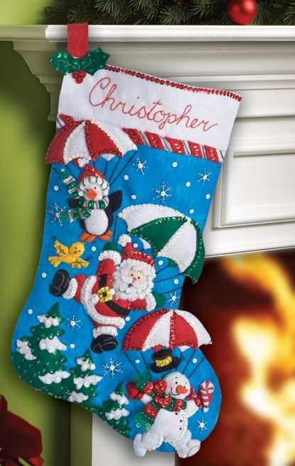 "Bucilla Holiday Drive ~ 18/"" Felt Christmas Stocking Kit #86451 Santa Frosty Car"