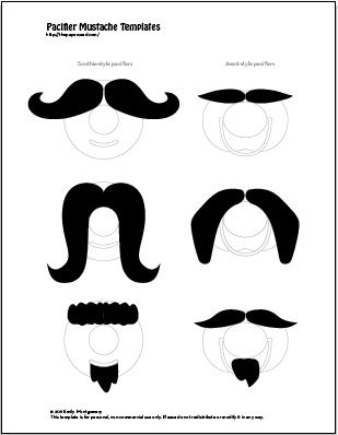DIY Mustache Pacifier Template Printable