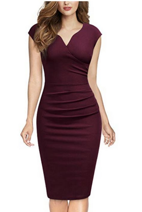 MIUSOL Women's Elegant Business Cocktail Party Sleeveless Ruffles Slim Fit Pencil Dress(Burgundy M) Elegant Dresses, Pretty Dresses, Church Dresses For Women, African Wear Dresses, Office Outfits Women, Sleeves Designs For Dresses, Workwear Fashion, Professional Outfits, Classy Dress
