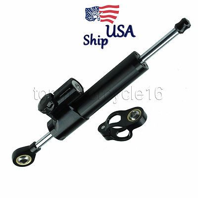 CNC Steering Damper Motorcycle Stabilizer Linear Reversed Safety Control Black