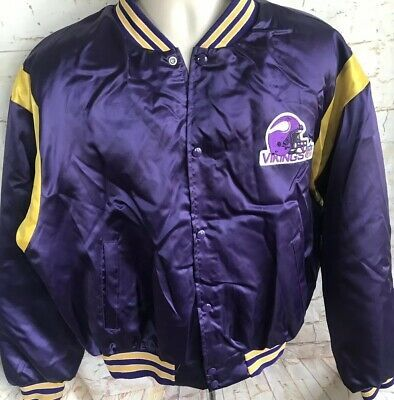 best loved f47ee 6e29d VINTAGE XL NFL MINNESOTA VIKINGS SATIN JACKET Helmet Logo ...
