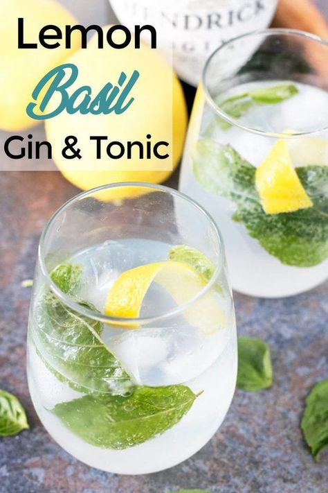 Lemon Basil Gin & Tonic is how I'm upping my gin and tonic game before the summer is over. The bite of the lemon and sweet basil bring out every flavor in the gin! This is all I'm going to be sipping on until the weather turns… Summer Cocktails, Cocktail Drinks, Cocktail Recipes, Alcoholic Drinks, Beverages, Gin Lemon Cocktail, Summer Parties, Triple Sec, Bebida Gin
