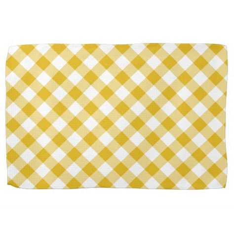 Yellow Gingham Gift Kitchen Towel Zazzle Com Kitchen Towels